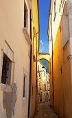 Narrow alley in Tocco da Casauria, Abruzzo region, Italy