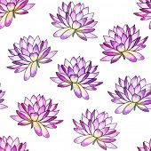 Watercolor seamless pattern with Water lily. Oriental style.