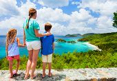 Family of mother and kids enjoying aerial view of picturesque Trunk bay on St John island, US Virgin