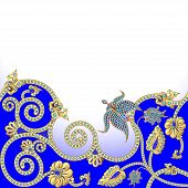 Background With Flowers Of Gold And Precious Stones