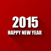 Vector Modern red  simple Happy new year card (2015) with a long shadow effect