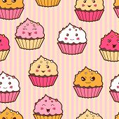 stock photo of kawaii  - Seamless kawaii cartoon pattern with cute cupcakes - JPG