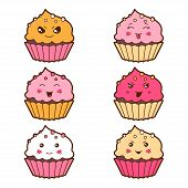 stock photo of kawaii  - Set of kawaii cupcakess with different facial expressions - JPG