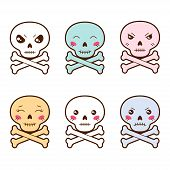 Set of kawaii skulls with different facial expressions.