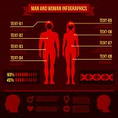 Set of Man and Woman Infographic Elements. Vector