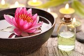 image of perfume  - Spa still life with perfume bottle and lotus flower - JPG