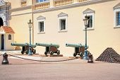 stock photo of cannonball  - Pyramids of cannonballs and cannon near Prince Palace in Monaco - JPG