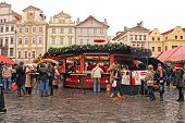 Christmas Market On Old Town Square In Prague,Czech Republic.