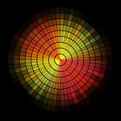 Abstract  radial red and yellow mosaic.