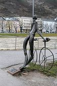 Nude Bronze Statue Of Cyclist In Salzburg, Austria
