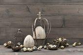 Vintage Easter Decoration. Shabby Chic Still Life