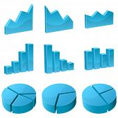 Set of 3D graph icons isolated on white background.