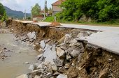 picture of landslide  - Road leftovers after natural distruction river flooding - JPG