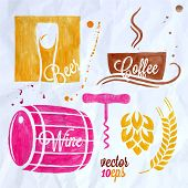 picture of drawing beer  - food and drink watercolor set beer wine coffee 10 eps - JPG