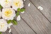 Wooden background with fresh rose flowers and copy space