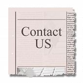 contact us on piece of newspaper