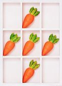 Simple box with carrots on cells isolated