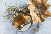 picture of infusion  - Mentha pulegium infusion and items to prepare it - JPG