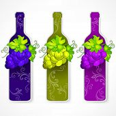 Bottle Wine With Grapes And Pattern