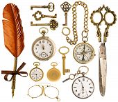 Antique Accessories. Antique Keys, Clock, Scissors, Compass