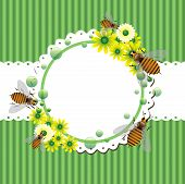 Summer frame with bees