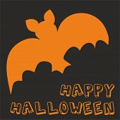 Happy Halloween party vector card with bat and hand drawn wishes