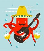 Sombrero Macho Moustache Octopus Playing Guitar
