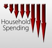 pic of macroeconomics  - Graph illustration showing Household Spending decline - JPG