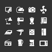 Set Icons Of Home Technics And Appliances