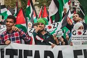 People Protesting Against Gaza Strip Bombing In Milan, Italy