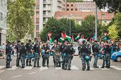 Police Follows People Protesting Against Gaza Strip Bombing In Milan, Italy
