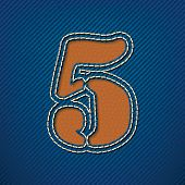 Number 5 made from leather on jeans background - vector illustration
