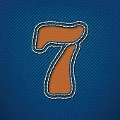 Number 7 made from leather on jeans background - vector illustration