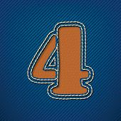 Number 4 made from leather on jeans background - vector illustration