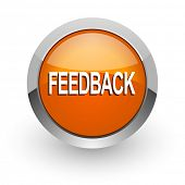 feedback orange glossy web icon