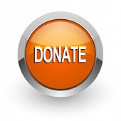 donate orange glossy web icon