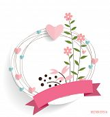 Cute card with ribbon, heart and floral bouquets, vector illustration.