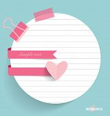 Note papers with cute ribbons, ready for your message. Vector illustration.