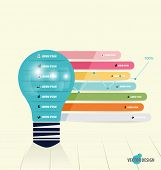 Infographic design template. Light bulb with infographics paper template and business graph, vector