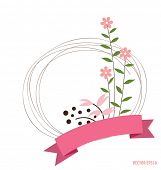 Cute card with ribbon and floral bouquets, vector illustration.