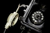 Close-up Of An Old Black Telephone