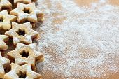 stock photo of linzer  - Traditional Austrian Linzer cookies in a shape of star