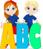 Illustration two kids and ABC letters. Raster version.