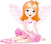 Illustration of cute fairy ballerina sitting on a floor. Raster version.