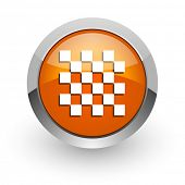 chess orange glossy web icon
