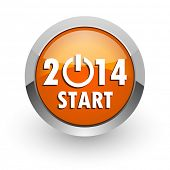 year 2014 orange glossy web icon