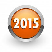 new year 2015 orange glossy web icon