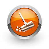 broom orange glossy web icon