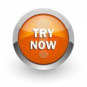 try now orange glossy web icon