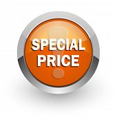 special price orange glossy web icon
